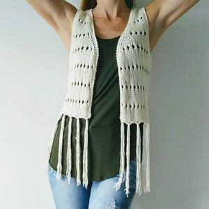 Dolled Up Fang Crocheted Cream Sweater Vest Fringe